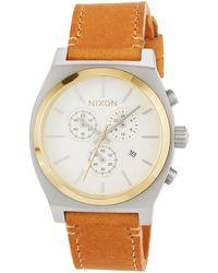Nixon - 39mm Time Teller Chrono Leather Watch Tan - Lyst
