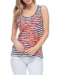 94b4d0fa644d Fever - Floral Embroidered Striped Tank - Lyst