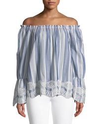 ded853853ab9df Lyst - Max Studio Off-the-shoulder Rose-embroidered Blouse in Blue