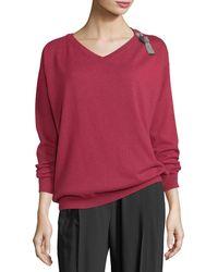 Brunello Cucinelli - Cashmere V-neck Monili-strap Sweater - Lyst