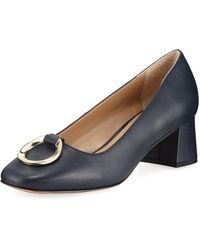 Elie Tahari - Mavis Leather Low-heel Pumps With Buckle Detail - Lyst