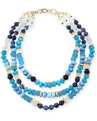 Akola - Triple-strand Blue Beaded Necklace - Lyst