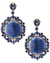 Bavna - Silver Round Drop Earrings With Blue Sapphire & Diamonds - Lyst