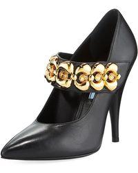Prada - Leather Jeweled-strap Mary Jane Pumps - Lyst
