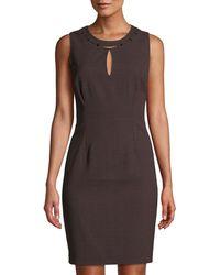 T Tahari - Sleeveless Sheath Dress With Hardware Collar Detailing - Lyst