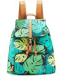 Neiman Marcus - Bree Leaf-print Nylon Backpack - Lyst