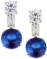 Fantasia by Deserio - Mixed-cut Clear & Blue Crystal Drop Earrings - Lyst