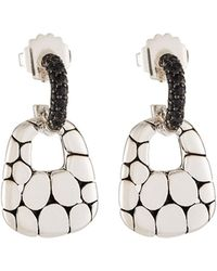 John Hardy - Kali Silver Lava Drop Earrings W/ Black Sapphires - Lyst