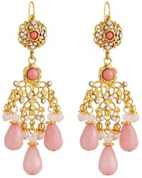 Jose & Maria Barrera - Filigree Chandelier Earrings Pink - Lyst