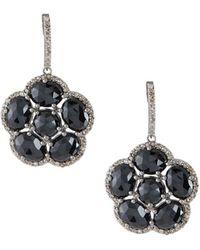 Bavna - Floral Black Spinel Dangle Earrings - Lyst