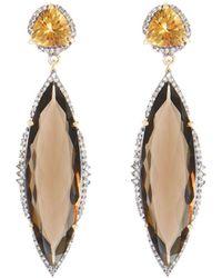 Bavna - Smoky Quartz Marquise Dangle Earrings - Lyst