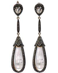 Bavna - Black Silver Drop Earrings With Moonstone & Diamonds - Lyst