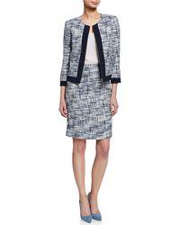 Tahari - Boucle Collarless Zip Jacket Suit Set - Lyst