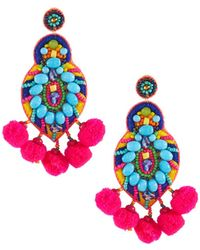Panacea - Multi-bright Pompom Drop Earrings - Lyst