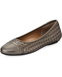 Neiman Marcus - Silex Napa Leather Woven Flat - Lyst