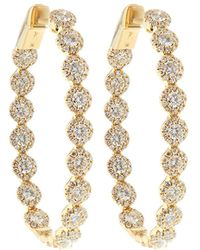 Neiman Marcus - 14k Yellow Gold Diamond Halo Hoop Earrings - Lyst