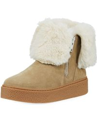 J/Slides - Brynn Sneaker Bootie With Faux-fur Collar - Lyst