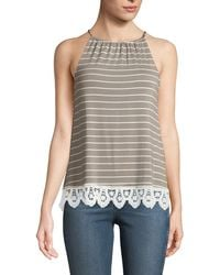 Casual Couture - Halter-neck Striped Lace-hem Tee - Lyst