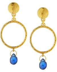 Gurhan - 22k Gold Captiva Circle Sapphire Drop Earrings - Lyst