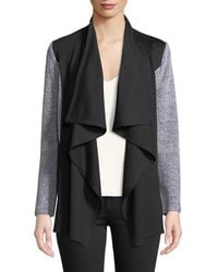Neiman Marcus - Mixed-media Draped Open Cardigan - Lyst