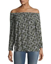 MICHAEL Michael Kors - Off-the-shoulder Printed Tunic - Lyst