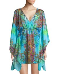 Luli Fama - Mixed-print V-neck Caftan Dress - Lyst