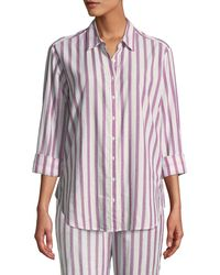 Xirena Beau Striped Cotton Lounge Shirt - Pink