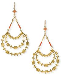 Devon Leigh Dangling Beaded Hoop Drop Earrings