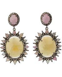 Bavna - Silver Oval Drop Earrings With Multicolor Sapphire & Diamonds - Lyst