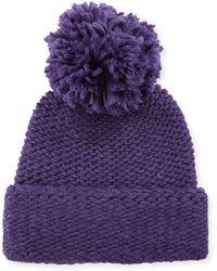 Portolano - Wool Knit Beanie With Pompom - Lyst