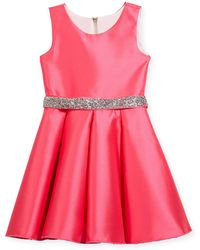 Zoe - Matte Sateen Swing Dress W/ Crystal Belt - Lyst