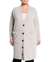 Lafayette 148 New York - Long Button-front Merino/cashmere Cardigan - Lyst