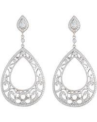 Penny Preville - 18k White Gold Diamond Scroll Pear Drop Earrings - Lyst