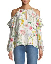 ffc090daa3514a Lyst - Red Valentino Floral-print Off-the-shoulder Blouse in Yellow