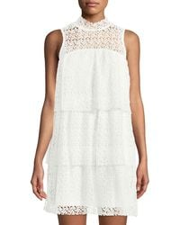 Philosophy - Mock-neck Lace Ruffle-tiered Mini Dress - Lyst