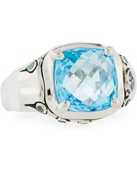 John Hardy - Batu Bamboo Sky Blue & Swiss Blue Topaz Cushion Ring - Lyst