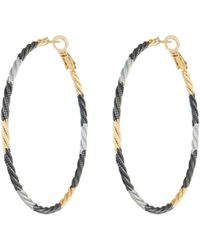 Fragments - Tricolor Twisted Hoop Earrings - Lyst