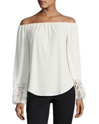 Tahari - Off-the-shoulder Knit Top W/ Lace - Lyst