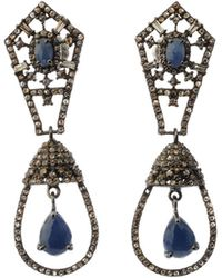 Bavna - Silver Double-drop Earrings With Blue Sapphire & Diamonds - Lyst