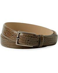 Armani - Men's Snakeskin-embossed Leather Belt - Lyst