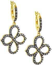 Freida Rothman - Pave Open Clover Drop Earrings - Lyst