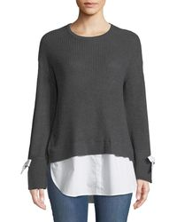 Neiman Marcus - Poplin-trimmed Crewneck Twofer Sweater - Lyst