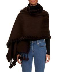 Gorski - Rabbit Fur Pompom Wool Cashmere Stole - Lyst
