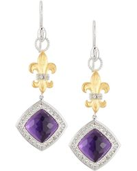 Jude Frances - Fleur & Amethyst Quartz Drop Earrings - Lyst