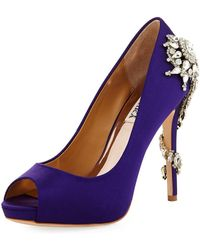Badgley Mischka - Royal Satin Embellished Pumps - Lyst