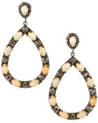 Bavna - Opal & Diamond Pavé Teardrop Earrings - Lyst