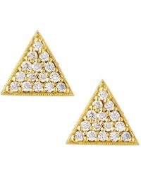 Penny Preville | 18k Diamond Equilateral Triangle Stud Earrings | Lyst