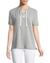 MICHAEL Michael Kors - Lace-front Short-sleeve Sweater - Lyst