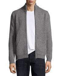Patrick Assaraf - Marled Zip-front Sweater Cardigan - Lyst