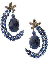 Bavna - Silver Leaf Drop Earrings With Blue Sapphire & Diamonds - Lyst